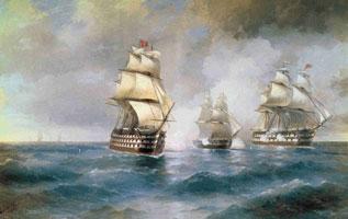 Бриг меркурий, атакованный двумя турецкими кораблями (И.К. Айвазовский, 1892 г.)