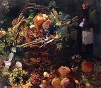 Натюрморт с фруктами и бутылкой (К.А. Коровин)